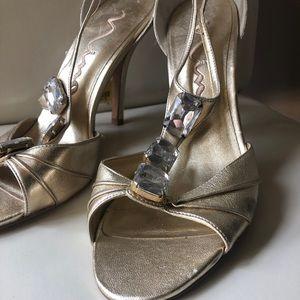 Nina gold heels with gems